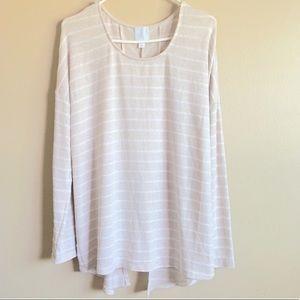 Sunday Light knit khaki white stripes long sweater